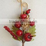 "Fresh Artificial Christmas Red Fruit Pick 10"" Artificial Polyfoam With Berries and Pineneedle Pick"