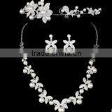 Fashion High Quallity Rhinestone Crystal Drop Bridal Necklace Earrings Crown Jewelry Set For Wedding