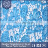 2016 flower patterns design nigrian cord sky blue laces african wholesale products 100% polyester lace embroidery guipure fabric