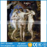 Digital Printing Glass Sexy Nude Fat Woman Oil Painting