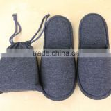 Top grade and portable cotton travel slipper with a pouch for airlines, indoor and hotel