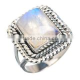 Natural rainbow moonstone desiginer ring 925 sterling silver jewelry wholesale,JEWELRY EXPORTER