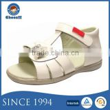 2016 Pure White Cow Leather Baby Doll Sandals with Bow Knot