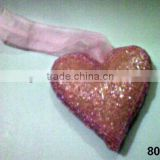 Glass Beads Pink Heart Ornament & Decoration for Christmas Tree