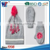 100 Acrylic thick knit beanie cap and golves set smile beanie hat