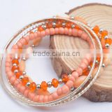 The new 2016 high grils fashion thin metal bangle with orange shell pure manual bead bracelet