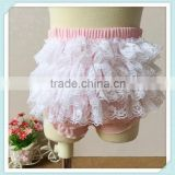 Soft Ruffle Diaper Cover Pink Lace Ruffle Baby Bloomer Cotton Baby Girls Bloomer Ruffle Short For Kids