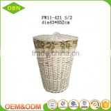 Handwoven wicker rattan cane laundry basket with cover