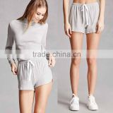 2 piece set clothes Matching Long Sleeve Top Sweatshirt And Waffle Knit Dolphin Shorts Ladies Short Sleeve Suits