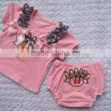 The new Europe foreign trade the original single children suit Thanksgiving Turkey Short sleeve pp pants two-piece babys'