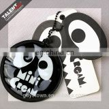 Custom paper printed Black Punched Shape Hangtag With PVC Cotton Filling Pendant for kid's Garment