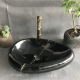 Nero Marquina Marble Bathroom Vessel Oval Sink Black Marble Wash Basin
