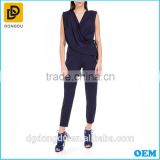 Sexy ladies black overall crepe neck chiffon jumpsuits