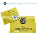 2014 Hot JAMES CAPTAIN paper hang tag , Brand red wine hang tag China supplier