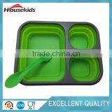 3 Compartments Silicone Lunch Box Container Lime Green School Picnic with spork