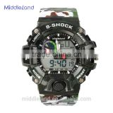 Men's cool 3 time zone multi-function double japan quartz movement sport clock MIDDLELAND 6020 army military watch