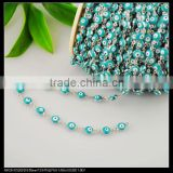 LFD-0018C ~ Wholesale 6MM Blue Color - Evil Beaded Wire Wrapped Beaded Chains - Silver Tone Rosary Style Chain Jewelry Making