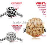 Vnistar silver&gold&antique silvr plated European copper alloy beads, copper flower blossoms shape beads for bracelet CEB003