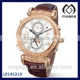 Fashion Men's brown crocodile leather date watch mechanical/rose gold plating hand winding mechanical watch sapphire glass