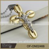 Latest model fashion stainless steel gold cross silver jesus pendant necklace