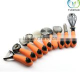 Nice Useful Full Set Kitchen Tools Stainless Steel Flat Grater whisk Cutter Peeler Opener Orange Handle