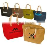 Factory hot-selling jute tote bags with leather handles                                                                         Quality Choice