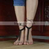Black Crochet Barefoot Sandals-Anklet-Nude shoes-Foot accessory-Beach