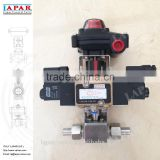 LAPAR Stainless Steel Pneumatic High-pressure Ball Valve with limit switch and solenoid valve double coil