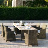 outdoor furniture includes six chairs and dinig table with marble table top for garden use