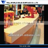 2013 aluminum frame coffee wood bar table Artificial Stone Acrylice counter