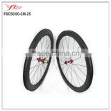 Hot sale Cheap clincher bicycle wheelset carbon 50mm front 60mm rear 25mm wide with Novatec hub and Sapim cx-ray spokes basalt