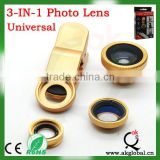 3 in 1 Clip-On 180 Fish Eye Lens + Wide Angle + Macro Lens For Apple iPhone 4S/5G Mobile Phones & Digital Cameras