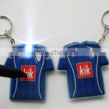 Custom design T-Shirt shape led key rings ,color printing both sides Lighted key chain Flashlight key ring