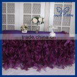CL010H Custom made elegant organza ruffled frilly fancy wedding purple curly willow table cloths