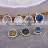 Agate Titanium Connector Beads Quartz Geode Stone Druzy Beads Dark Silver plated Pave Zircon Beads For Jewelry Making