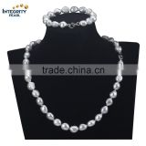 11-12mm baroque silver hot sale freshwater wedding jewelry pearl necklace