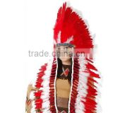 Red-White Indian Headdress Adult Native American Costume Feather headdress