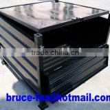 Corrugated steel container with lid