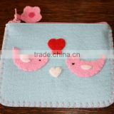 Best selling polyester mobile purse cell coin money wallet wool fabric phone pouch with handsewn birds hearts flower zipper