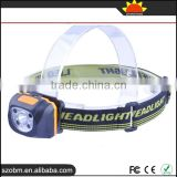 Waterproof 500 Lumens White and Red Light Small Lightweight Foldable LED Headlight with aaa battery