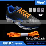 Expand Flexies Neon Orange Elastic Flat No More Lacing System Shoelaces with Buckles and Lock Ends - Accept Custom