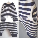 Customized Baby Stripe Harem Long Pants Rib Pocket Kid Cotton Spandex Breathability Pants