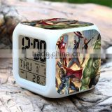 Hot selling digital clocks for kids Superhero Green-man alarm clock colorful LED clocks for sale