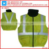 reflective waterproof jacket without sleeves,safety waterproof yellow jacket with two zipper pockets,reflective yellow jacket