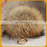 High Quality Bag Accessory Dyed Real Raccoon Fur Balls Keychain For Bag Accessory Key Ring