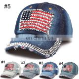 Jean Snapback Hat Cap Baseball Hat Cap Women Bling Hats Retro Distressed Crystal Blue Denim Men Hat Cap