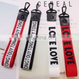 custom logo ribbon keychain phone charms fabric label logo charm hangers logo letter ribbon hangers garment accessories