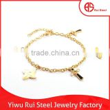 High quality adjustable link chain jewelry with cross pendants gold women charm bracelet