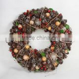 2015 artificial natural christmas wreath with pine and berry