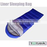 Blue Color Polyester Pongee Fabric liner sleeping bags with hood